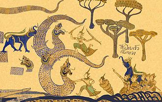 Sang Sinxay - Sinxay and Siho fight the Giant Snake, depicted on a mural at Wat Sanuan Wari.