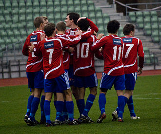 Bislett Stadium - Skeid players celebrate a goal against Steinkjer FK at Bislett Stadium in October 2008. Skeid won the match 8–2.