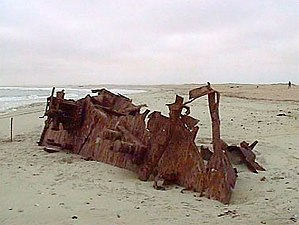 Skeleton Coast - One of many rusting ship hulls along the Skeleton Coast (MV Dunedin Star).
