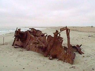 Skeleton Coast - One of many rusting ship hulls along the Skeleton Coast (MV Dunedin Star)