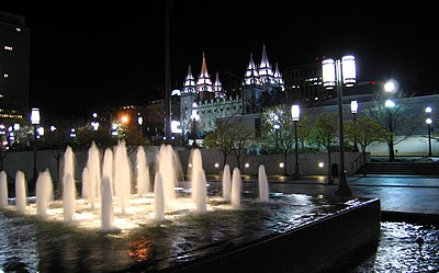 Slc temple at night conference center fountain.jpg