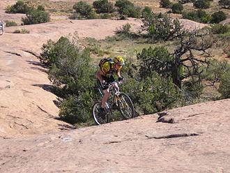 Slickrock Trail - One of several steep hills on the Slickrock Trail, October 2005