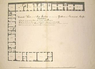"Nya smedjegården - Drawing of the building (ground floor, prison part), first half of 18th century: 6 cells in the upper wing are for ""smithy prisoners"", 9 cells, for correction house inmates and guards ""to live in"", 9 workshops in the lower half, for artisans ""to rent"""