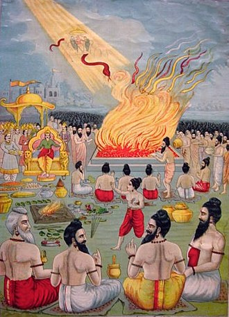 Astika (Hinduism) - The snake sacrifice of Janamejaya, as Astika (boy in red) stops the king
