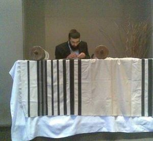 Sofer - A sofer finishing the final letters of a sefer Torah