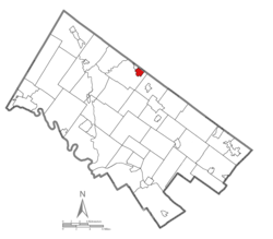 Location of Souderton in Montgomery County, Pennsylvania.