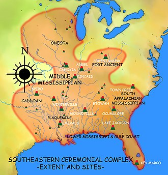 Southeastern Ceremonial Complex - A map of the Southeastern Ceremonial Complex and some of its associated sites