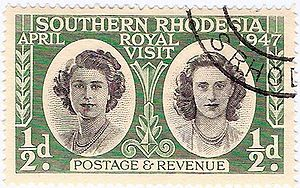 History of Zimbabwe - Southern Rhodesia stamp: princesses Elizabeth and Margaret on the 1947 royal tour of South Africa
