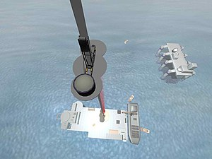 Space elevator - One concept for the space elevator has it tethered to a mobile seagoing platform.