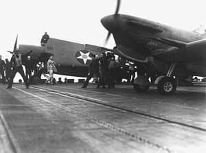 Spitfire before launch from USS Wasp (CV-7) in May 1942.jpg