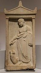 Stèle funéraire : jeune homme et chien Ma 807