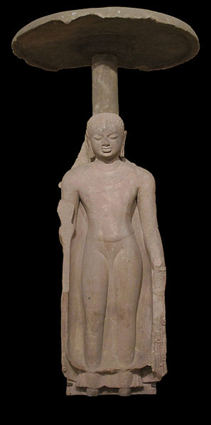 File:StandingBuddha w. umbrella. Sarnath,5thCent. Gupta.JPG