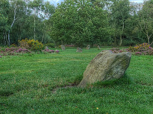 Nine Ladies - The King Stone looking towards the Nine Ladies stone circle