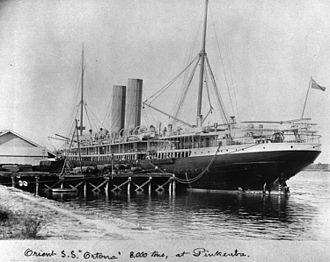 SS Arcadian - Ortona at Pinkenba Wharf, Brisbane in 1907