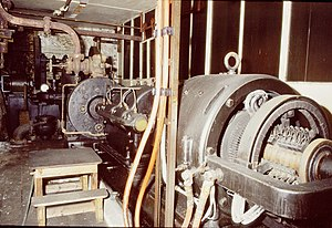 Greenwood & Batley - DC generating plant of De Laval impulse turbine, reduction gearbox and DC dynamo, installed at Bamford Mill
