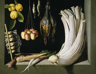 Still life - Juan Sánchez Cotán, Still Life with Game Fowl, Vegetables and Fruits (1602), Museo del Prado Madrid