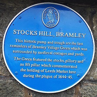 Bramley, Leeds - Blue plaque on Stocks Hill