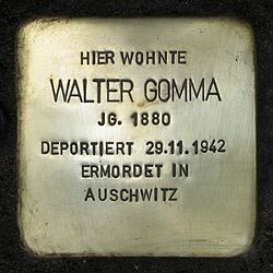 Photo of Walter Gomma brass plaque