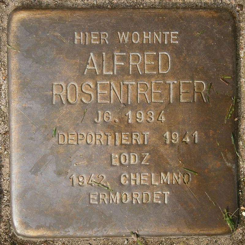 Stolperstein Behnstraße 17 (Alfred Rosentreter) in Hamburg-Altona-Altstadt.JPG