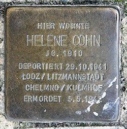 Photo of Helene Cohn brass plaque