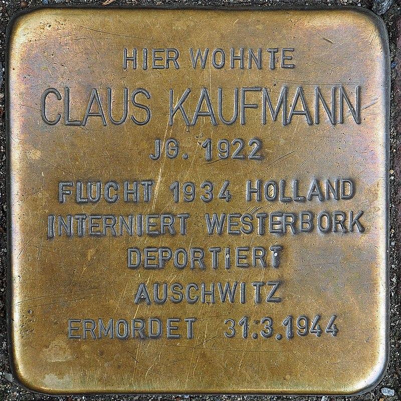 Stolperstein Geldern Hartstraße 2 Claus Kaufmann