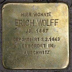 Photo of Erich Wolff brass plaque
