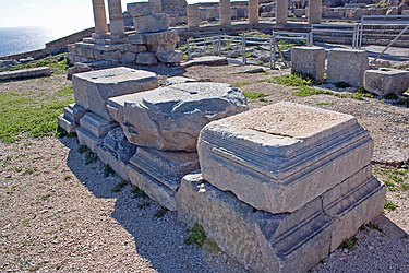 Stone blocks on the acropolis of Lindos 2010 2.jpg