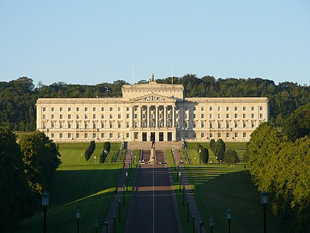 Parliament Buildings in Belfast, seat of the Northern Ireland Assembly StormontGeneral.jpg