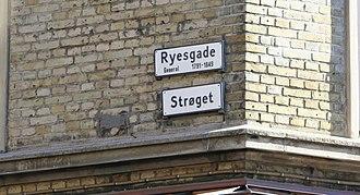 Ryesgade, Aarhus - Streetsigns: Ryesgade and Strøget