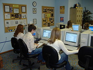Computers in the classroom - Schools often have dedicated computer labs which different classes share for studying and research.