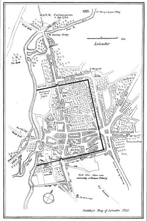 Leicester City Centre - Map of Leicester in 1722