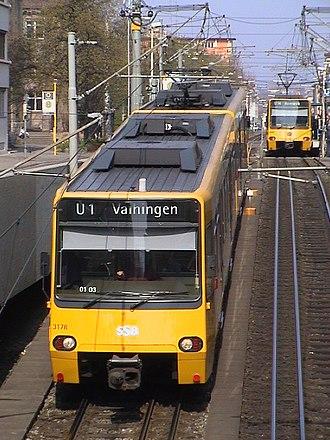 Stuttgarter Straßenbahnen - Light rail line U1 between Stöckach and Neckartor; mixed gauge track can be seen