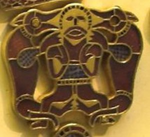 Sutton Hoo purse-lid - Detail of the wolf-warrior on the purse-lid