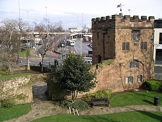 History of Coventry - Swanswell Gate with one of the few surviving sections of Coventry's city walls