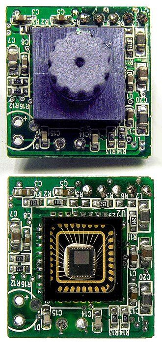 Webcam - Webcams typically include a lens (shown at top), an image sensor (shown at bottom), and supporting circuitry