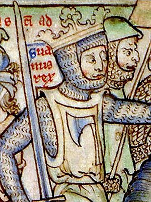 Sweyn Forkbeard - Sweyn (Suanus rex) invading England in 1013 (detail of a 13th-century miniature).