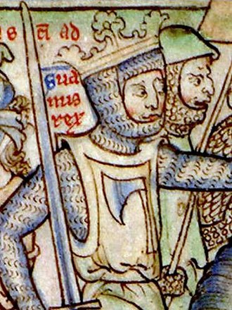 Sweyn Forkbeard - Sweyn (Suanus rex) invading England in 1013 (detail of a 13th-century miniature). Cambridge University Library.