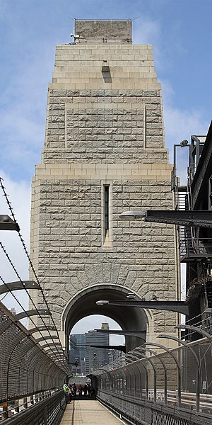 Sydney Harbour Bridge - The south-eastern pylon containing the tourist lookout, made of granite quarried at Moruya, NSW
