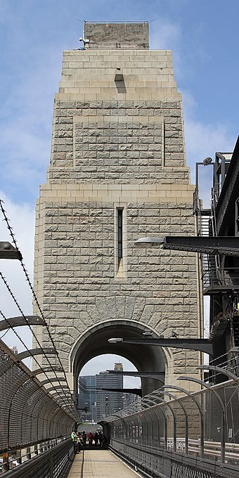 The south-eastern pylon containing the tourist lookout, made of granite quarried at Moruya, NSW Sydney Harbour Bridge SE Pylon, jjron, 02.12.2010.jpg
