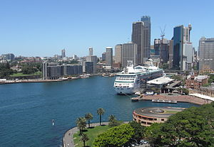 Sydney Harbour with cruise liner.JPG