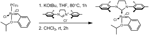 Preparation of the Hoveyda–Grubbs catalyst from the first-generation version
