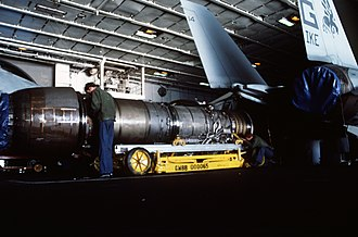 Pratt & Whitney TF30 - A TF30-P-412A being prepared for installation in an F-14A Tomcat on board a carrier