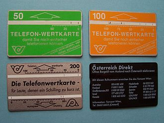 Telephone card - Optical phonecards from Austria. The balance is shown by the vertical marks on the white bar