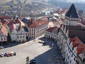 Tábor - Southwest corner of the Žižka's square as viewed from the church tower