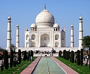 The Taj Mahal is India's most popular tourist destination and one of the seven touristic wonders of the world