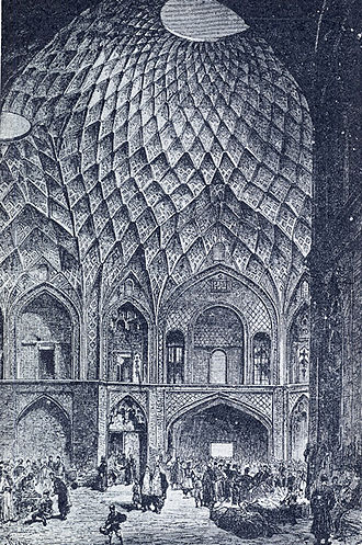 Kashan - Timcheh-e Amin o Dowleh, Kashan Bazaar (19th century). Persian architects used these structures to naturally decrease temperatures, regulate sunlight, and ventilate the interior spaces during the daytime.