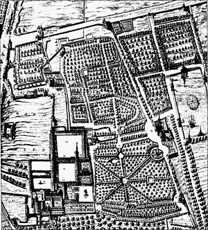 Buen Retiro Palace - The palace and garden complex of Buen Retiro; fragment of the Madrid plan by Pedro Teixeira (1656)