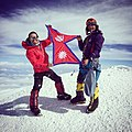 Temba Tsheri Sherpa (R) and Chhiring Dorje Sherpa holding the flag of -Nepal on the top of Mt.Denali (McKinley), 6168m above sea level. On 26 June 2015.jpg
