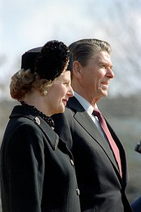 Margaret Thatcher and Ronald Reagan.