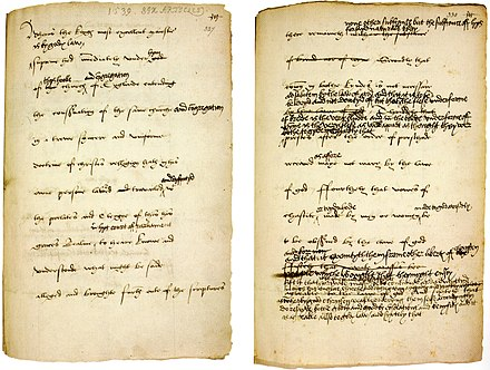 One of the final drafts of the Six articles (1539), amended in King Henry VIII's own hand The Act of Six Articles 1539.jpg